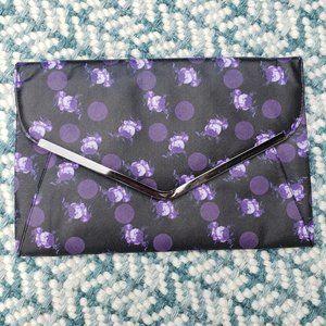 ASOS Purple Polka Dot Flowers Envelope Clutch NEW